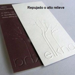 Tarjetas mate + repujado o alto relieve