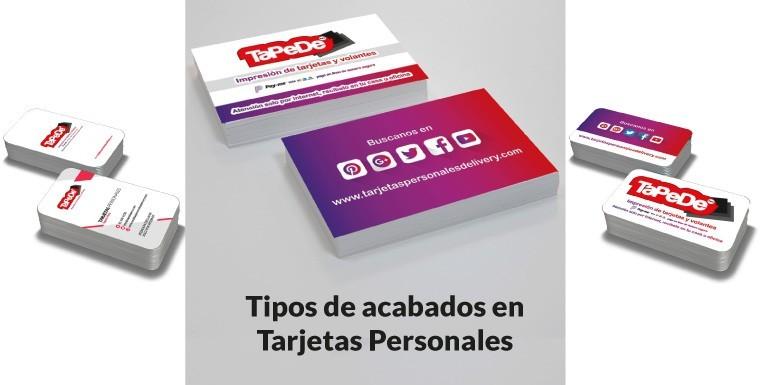 Tipos o acabados de tarjetas personales / presentacion