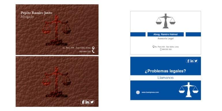 Diseños o modelos de tarjetas personales / presentación para abogados